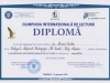 Diplomă Olimpiada Internaţională de Lectură
