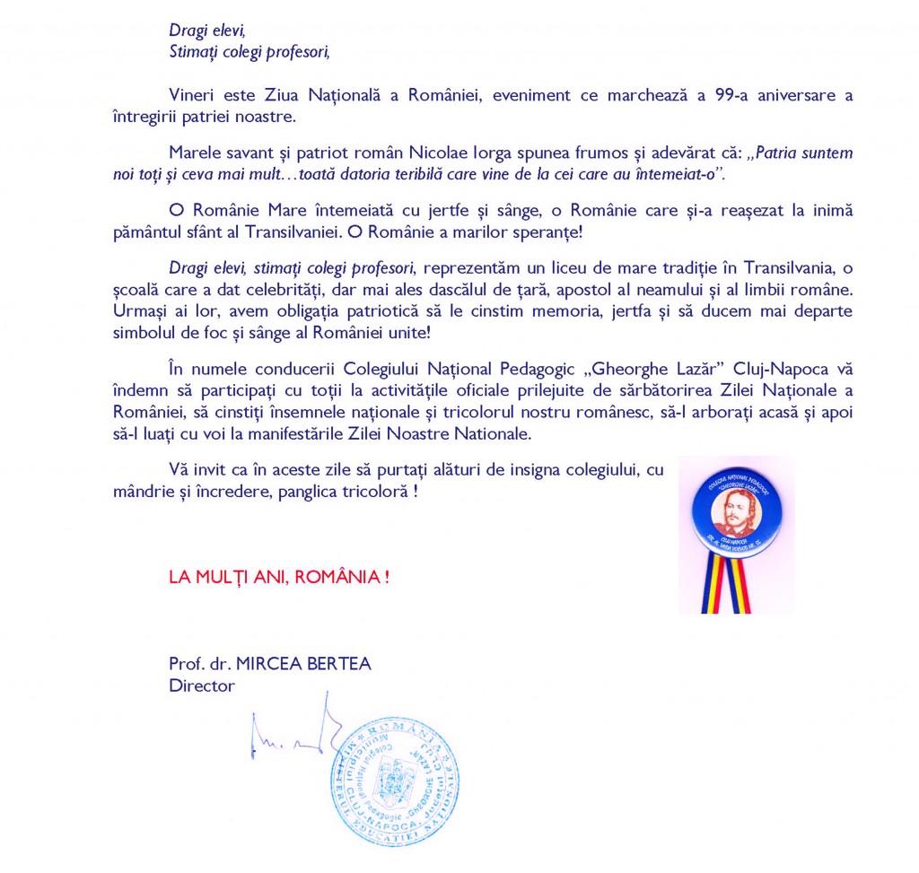 Mesajul directorului de Ziua Naţională a României 2017